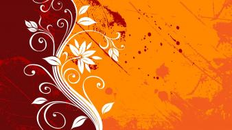 Leaf orange grunge vector graphic design floral wallpaper