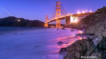 Light night rocks golden gate bridge san francisco wallpaper