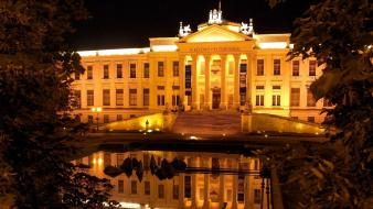 Night lights hungary museum szeged Wallpaper