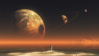Outer space stars planets moon alien landscapes sea Wallpaper