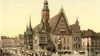 Poland palace breslau, wrocław old photo photography wallpaper