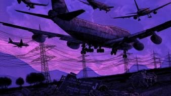 Signs purple power lines artwork daniel danger Wallpaper