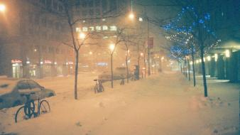 Snow streets cars bicycles montreal christmas lights snowing wallpaper