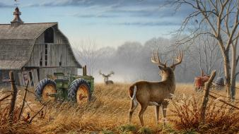Tractors artwork pheasant barn white tail deer wallpaper