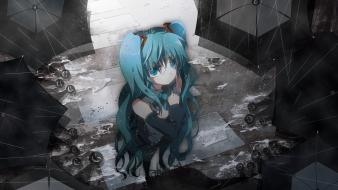 Vocaloid rain hatsune miku sad umbrellas wallpaper