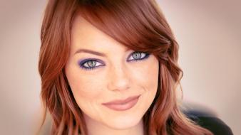 Women eyes redheads emma stone freckles smiling wallpaper