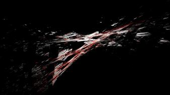 Abstract shattered black background widescreen fractal art Wallpaper
