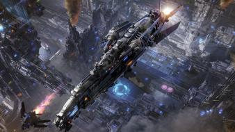 Aircraft cityscapes fantasy art spaceships vehicles Wallpaper