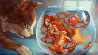 Animals redheads fish goldfish mermaids artwork bowls wallpaper