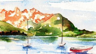 Artwork boats digital art paintings watercolor wallpaper