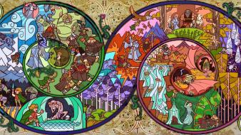 Artwork hobbit adventure stained glass wallpaper