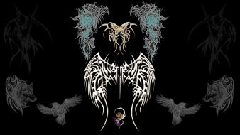 Bats butterflies digital art tattoos tribal wallpaper