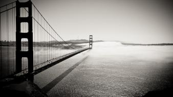 Black and white fog bridges golden gate bridge wallpaper