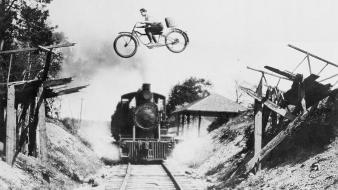 Black and white vintage bicycles trains monochrome wallpaper