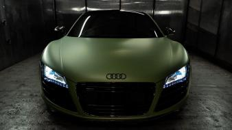 Blue lights cars audi r8 matte colored wallpaper