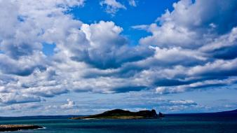 Blue skies clouds islands landscapes nature wallpaper