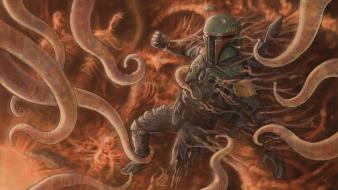 Boba fett digital art science fiction artwork wallpaper