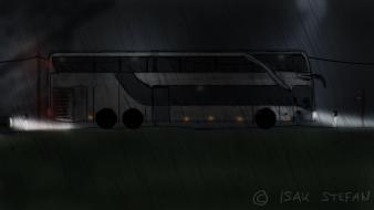 Bus busse double decker night rain wallpaper