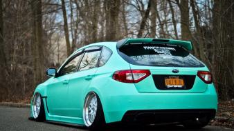 Cars subaru white rear angle view wallpaper
