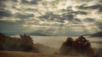Clouds landscapes nature trees fog mist sunlight bieszczady wallpaper