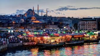 Eminonu istanbul turkey cities city lights wallpaper