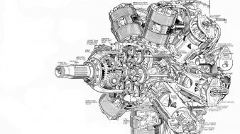 Engine black and white cut cutaway drawings Wallpaper