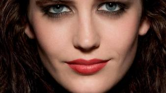 Eyes actresses eva green faces red lips wallpaper