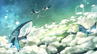 Flying bubbles whales artwork duplicate reaching out Wallpaper
