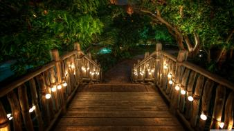 Garden wooden bridge wallpaper