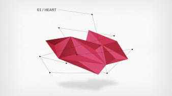 Geometry hearts triangles low poly wallpaper
