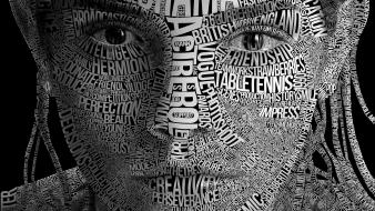 Grayscale artwork faces typographic portrait wallpaper
