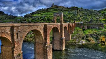 Hdr photography architecture bricks bridges hills wallpaper