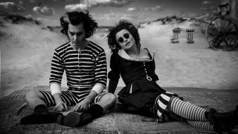 Helena bonham carter johnny depp sweeney todd grayscale wallpaper