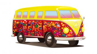 Hippie vehicles vector white background peace sign wallpaper