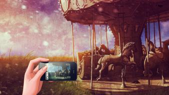 Horses amusement park cellphones artwork bracelets merry-go-round Wallpaper