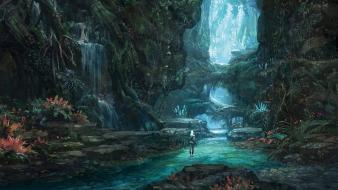 Korean tera concept mmo mmorpg waterfalls environment wallpaper