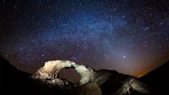 Landscapes stars nocturnal view canyonlands national park wallpaper