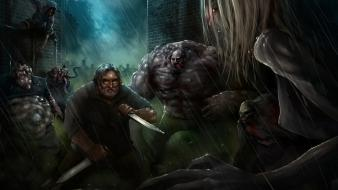 Left 4 dead gabe newell knives warriors wallpaper
