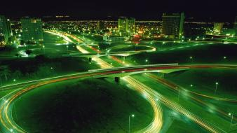 Lights cars long exposure cities time lapse wallpaper