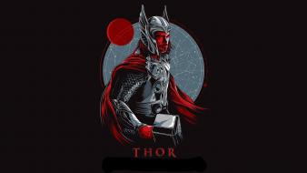 Marvel comics thor black background fan art movies Wallpaper