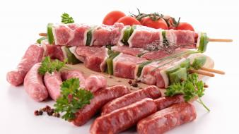 Meat tomatoes kebab sausage parsley wallpaper