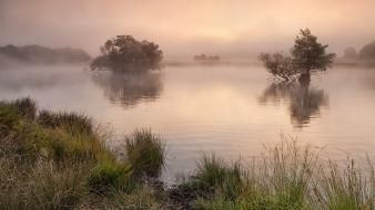 Mist calm united kingdom morning lakes reflections wallpaper