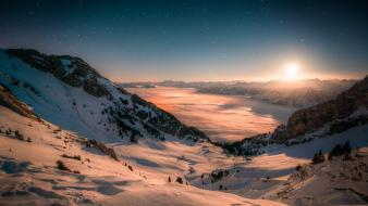 Mountains landscapes snow fog alps moonrise nightfall wallpaper