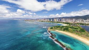 Ocean clouds landscapes cityscapes hawaii oahu beach wallpaper