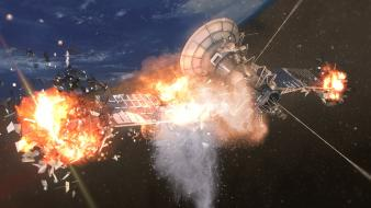 Outer space explosions fire satellite explosion wallpaper