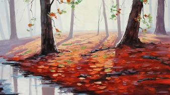 Paintings nature artwork fallen leaves autumn wallpaper