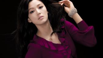 Purple dress jeon ji hyun black background wallpaper