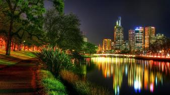 Reflection city lights wallpaper