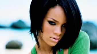 Rihanna brunettes faces green eyes top wallpaper
