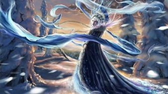 Snow fantasy art artwork maiden Wallpaper